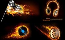 火焰燃烧视觉背景矢量素材