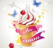 双色冰淇淋矢量图  AI