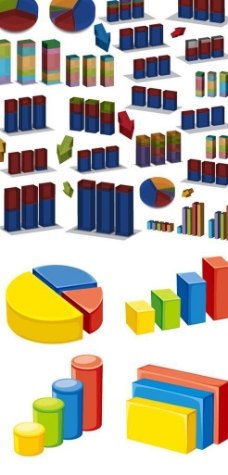 立体数据信息图标矢量图
