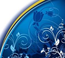 反白花纹蓝色背景矢量素材