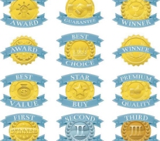 蓝色丝带奖牌矢量图  AI