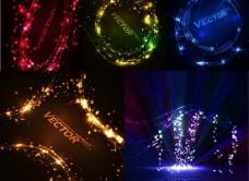 闪亮光点炫彩光效矢量背景素材