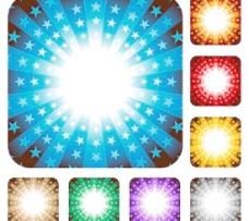 七彩五角星☆光效背景矢量图