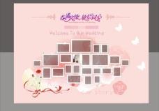 婚礼照片墙背景矢量素材  CDR