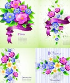 绚丽花卉淡雅背景矢量素材