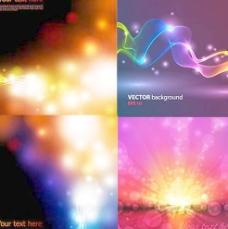炫彩光晕光效背景矢量素材