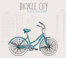 手绘自行车城市背景矢量素材