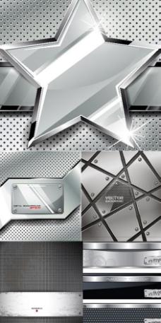 金属光泽钢铁材质背景矢量素材