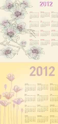 花卉线稿2012年历模板矢量素材