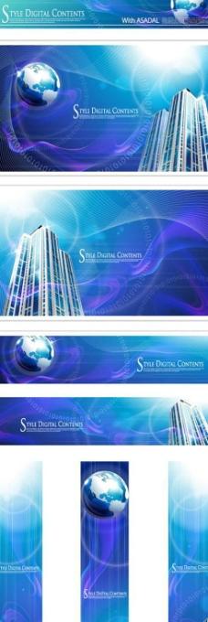 地球建筑蓝色科技banner矢量图