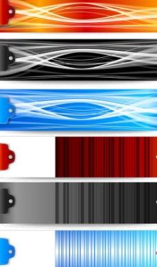 渐变色彩线条标签矢量图  AI