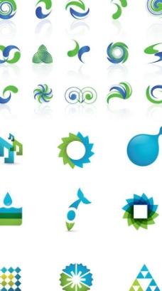蓝绿双色图形标志矢量图