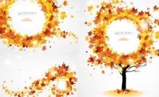 动感秋天枫叶矢量素材