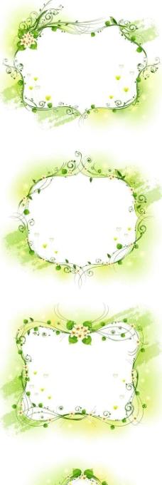 绿色藤蔓花纹边框矢量图 ai