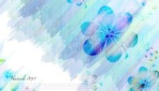 蓝色花朵艺术刷痕背景矢量图