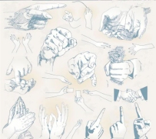 手姿手势线稿设计矢量素材
