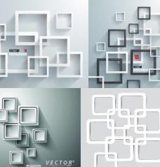 立体矩形边框背景矢量素材