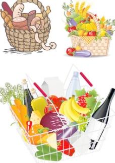 卡通超市购物篮菜篮矢量素材