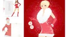 圣诞美女插图矢量素材