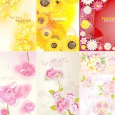 9款精美艳丽鲜花背景矢量素材