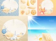 卡通贝壳海滩背景矢量素材