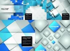 蓝白方块立体背景矢量素材