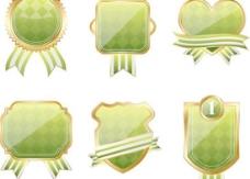 绿色古典徽章标签设计矢量图