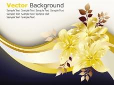 金色花朵装饰背景矢量素材