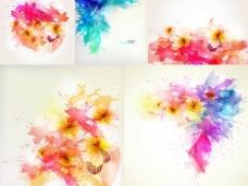 炫彩花朵泼溅墨迹背景矢量素材