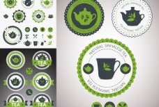 茶餐厅标签矢量素材