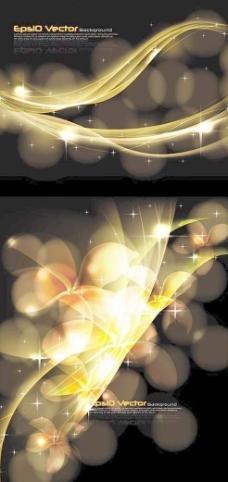 绚丽光芒弧线光效背景矢量素材