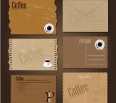 咖啡主题明信片矢量图  AI