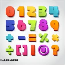多彩立体数字与符号矢量