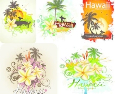 热带天堂夏威夷宣传海报矢量素