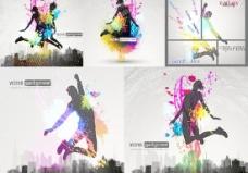 跳跃人物剪影动感炫彩海报矢量