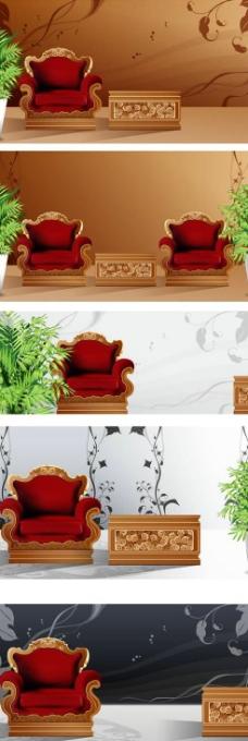 创意墙绘客厅装饰设计矢量图