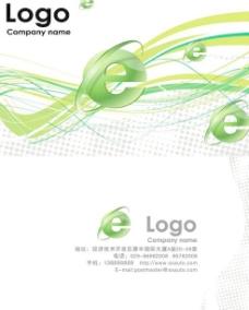 绿色线条网络信息名片PSD模