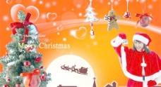 圣诞女郎海报背景PSD图片素