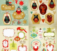 可爱圣诞节主题标签矢量素材