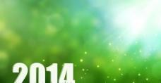 清新绿色2014新年背景PSD分
