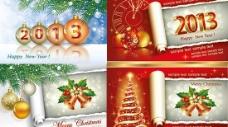 2013新年圣诞节卡片矢量素材