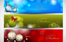 圣诞节挂球横幅矢量素材