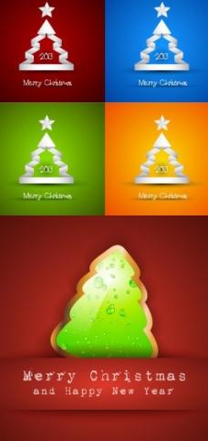 创意圣诞树彩色背景矢量素材