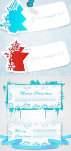 圣诞节雪花边纹贺卡矢量素材