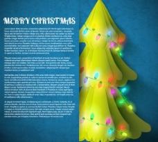 彩灯圣诞树画册矢量素材