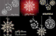 圣诞节雪花吊饰设计矢量图