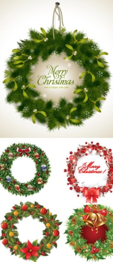 圣诞节花环边框矢量素材