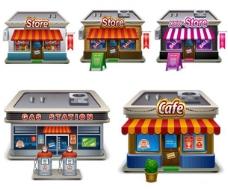 3D卡通商店模型矢量