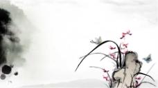 灰色背景梅花蝴蝶中国风水墨PPT模板