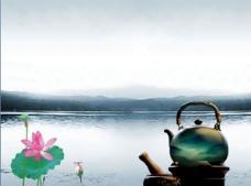荷花湖边风景精美ppt模板